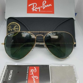 Ray-Ban Gold Aviator Sunglasses with Green Lenses Rayban RB3025 Unisex