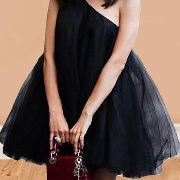 New Black Grenadine Asymmetric Shoulder Fluffy Puffy Tulle Tutu Skater Bridesmaid Prom Party dress