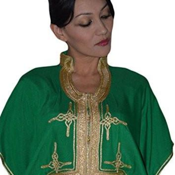 Abaya dress, Moroccan Caftans Women Malakia Hand Made with Gold Embroidery, dresses, abayas, Long Length One Size
