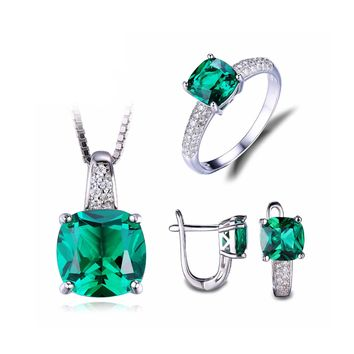 Cushion Cut 8.75 ct Emerald Jewelry Set - Ring, Pendant, Earrings