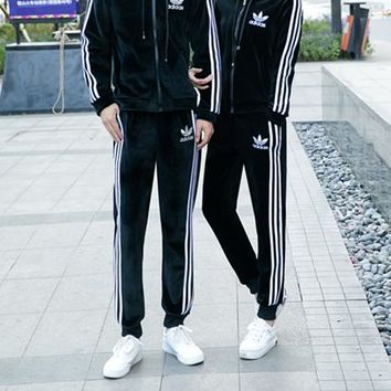 """Adidas"" Lover Unisex Casual Simple Fashion Drawstring Zip Long Sleeve Trousers Set Two-Piece Sportswear"