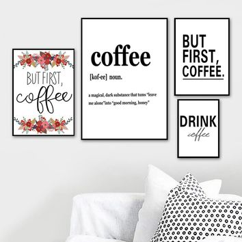 Black White Letter But First Coffee Sign Wall Art Canvas Painting Nordic Posters And Prints Wall Pictures For Living Room Decor