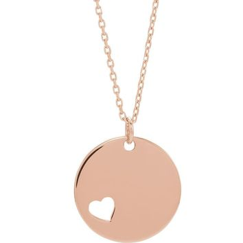 14k Yellow, White or Rose Gold Pierced Heart Disc Necklace, 16-18 Inch