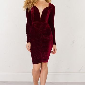 Velvet Plunge Dress in Wine