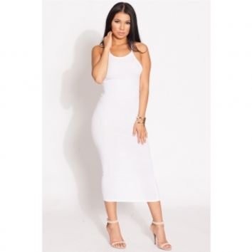 White Knit Body Con Midi Dress @ Cicihot sexy dresses,sexy dress,prom dress,summer dress,spring dress,prom gowns,teens dresses,sexy party wear,ball dresses