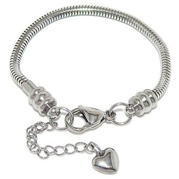 AUGUAU Stainless Steel Starter Charm Bracelet for Women & Kids European Style Clasp Come with 2 Beads