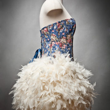 Custom size Floral and Jean Burlesque Feather Corset by Glamtastik
