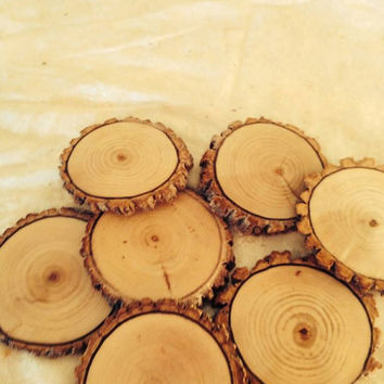 "THREE DAY SALE free shipping  4""-5"" Tree Slices, Rustic Tree Slices, Sanded Wood Coasters, Rustic Wedding Decor,Oak, Set Of 65"