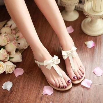 Genuine Leather 2015 New Arrival Fashion Hot Sale Butterfly-knot Charms Summer Women Flats Sandals Women Shoes Sandals = 5710707265