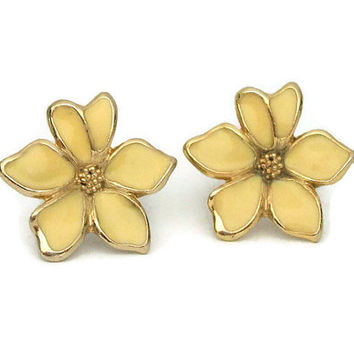 Yellow Enamel and Gold Tone Flower Clip On Earrings - Vintage Floral Clip Ons - Gardenia Clip Earrings