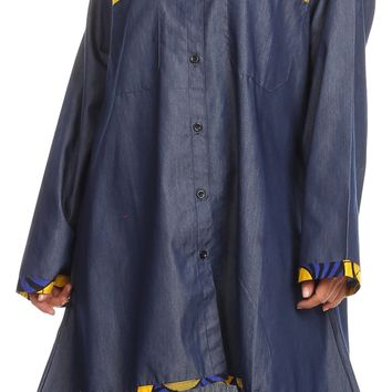 Sakkas Aana Womens Casual Ankara African Denim Chambray Shirt Dress Long Sleeve
