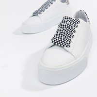 Pull&Bear check lace up flatform trainer in white at asos.com