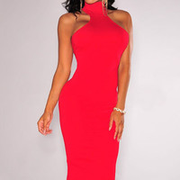 Red Halter Sleeveless Back Cutout Midi Bodycon Dress