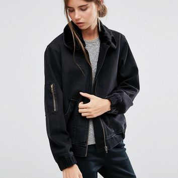 ASOS | ASOS Denim Bomber Jacket in Washed Black with Faux Fur Collar at ASOS