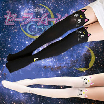 Anime Fake Thigh High Tights Sailor Moon Cosplay 20th Anniversary Cat Pantyhose