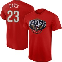 Mens New Orleans Pelicans Anthony Davis Majestic Red Player Name and Number T-Shirt