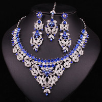 The Perfect Crystal  Indian Bride exclusive Forehead Necklace Earring Collection White Gold Plated Jewelry Set For Prom Party
