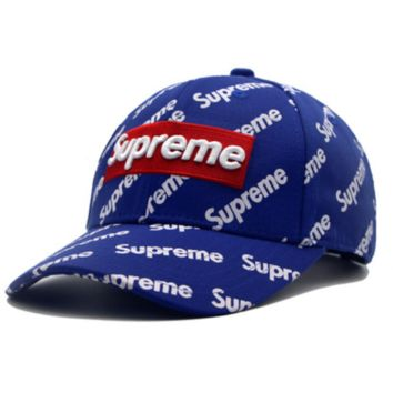 Supreme Fashion New Embroidery Letter More Letter Print Women Men Cap Hat Blue