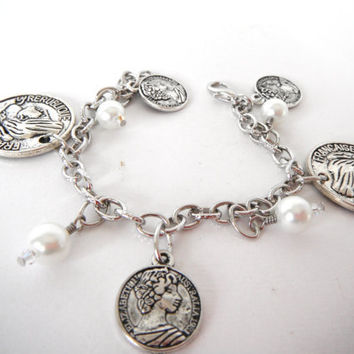 Silver Coin Pearl Charm Bracelet Gift  fashion under 30