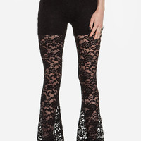 Black Lace And Mesh Flare Leggings