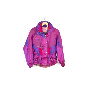 90s IRRIDESCENT SKI JACKET / vintage 1990s Nevica / eggplant plum purple / holographic / club rave / parka bomber coat / unique / shiny / 6