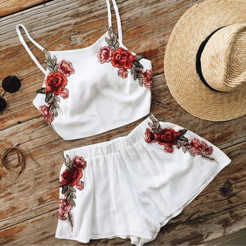 Summer Womens Playsuits Embroidery Spaghetti Strap Cropped Top Shorts 2 Piece Vestidos Sexy Romper Womens Jumpsuit Girl Overalls