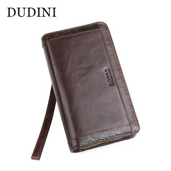 [DUDINI] Leather Long Double Zipper Men Leather Wallet Large Capacity Handbag Phone Passport Package Designer Carteira Masculina