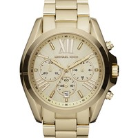Michael Kors Watch, Women's Chronograph Bradshaw Gold-Tone Stainless Steel Bracelet 43mm MK5605