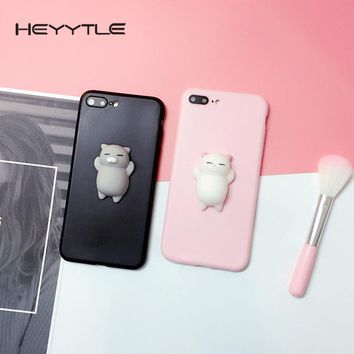 Heyytle 3D Squishy Cute Cat Phone Case For Apple iPhone X 8 7 6S 6 Plus 5 5S 5C SE Stress Reliever Back Cover Patterned Cases