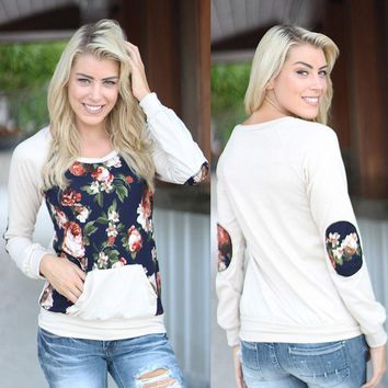 Women Autumn Blouse Floral Long Sleeve Loose Pullover Shirt Tops with Pockets