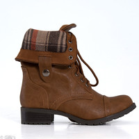 Soda Shoes Oralee Combat Boot in Tan ORALEE-S-TAN