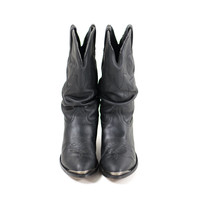 Black Cowgirl Boots Flat Western Cowboy Boots Rocker Booties Womens Size 6