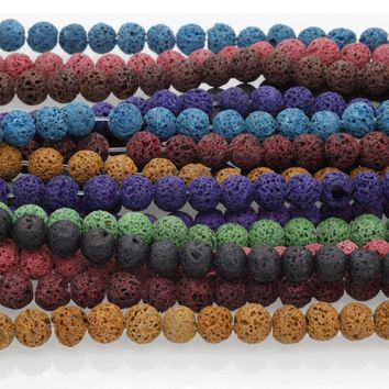 Multicolor Lava Rock Beads Fashion Round Black Natural Stone Beads for Jewelry Making Diy