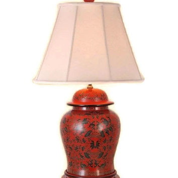 """Beautiful Chinese Red Lacquer Ginger Jar Table Lamp w Shade and Finial 28.5"""""""