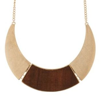 Gold Wood & Metal Collar Necklace by Charlotte Russe