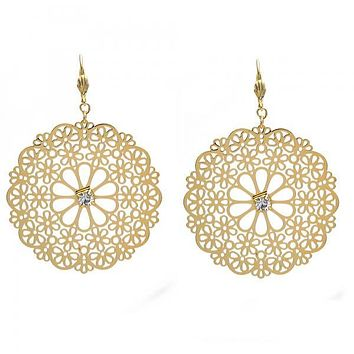 Gold Layered 073.003 Dangle Earring, Flower and Filigree Design, with White Cubic Zirconia, Polished Finish, Gold Tone