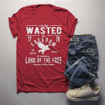 Men's Wasted On Freedom T Shirt 4th July Independence Day Vintage Shirts Graphic Tee Eagle