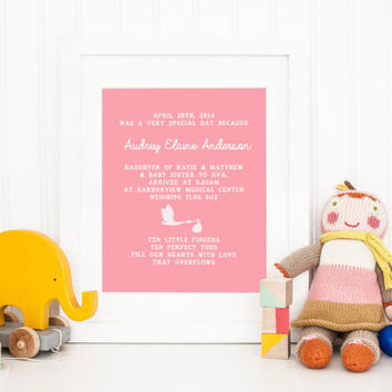 Newborn Baby Birth Announcement, Personalized Stats for Girl, Nursery room Decor wall art, Printable Personalized Keepsake, Stork Delivery