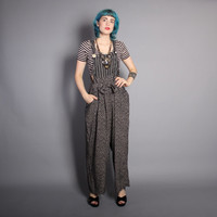 80s NOVELTY Print OVERALLS / Loose Fit Black & White JUMPSUIT