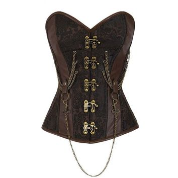 Victorian Goth Steampunk Boned Corset with Chains & Buckles