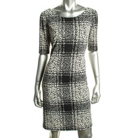 Tahari ASL Womens Alyona Printed Elbow Sleeves Wear to Work Dress