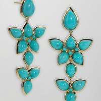 18k Gold Turquoise Cluster Earrings