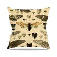 """Suzanne Carter """"Vintage Cicada"""" Bugs Pattern Throw Pillow"""
