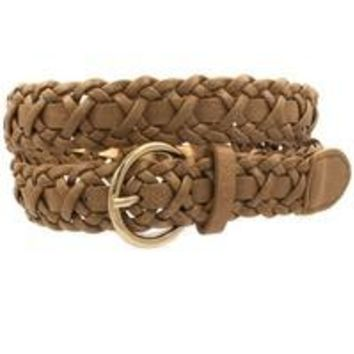 Braided Faux Leather Belt - Black, Brown or Gray