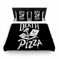 "Tatak Waskitho ""Death By Pizza"" Food Black Woven Duvet Cover"