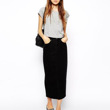 ASOS Denim Mom Skirt in Washed Black