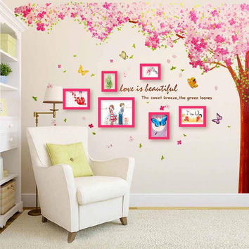 New Fashion Creative DIY 60x90cm Pink Cherry Blossom Tree Wall Sticker Art Mural Home Decor Decal