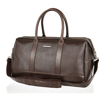 River Island MensBrown structured holdall bag