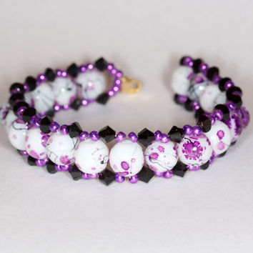 Purple handmade bracelet Handmade beaded bracelet Glass beads bracelet Glass beads and Swarovski beaded bracelet Glass and Swarovski