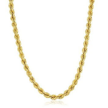 925 Sterling Gold Plated 6mm Rope Chain Necklace. (24 Inches)